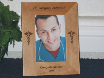 Doctor Picture Frame - Personalized Frame - Laser Engraved Medical Caduceus