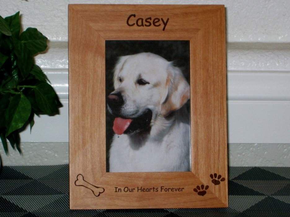 Dog Picture Frame - Personalized Frame - Laser Engraved Bone and ...