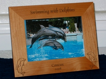 Dolphin Picture Frame - Personalized Frame - Laser Engraved Dolphins