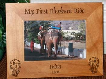 Elephant Picture Frame - Personalized Frame - Laser Engraved Elephants