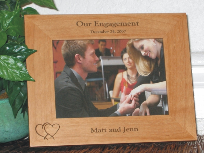 Engagement Picture Frame - Personalized Frame - Laser Engraved Hearts