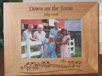 Farm Theme Picture Frame - Personalized Frame - Laser Engraved Farm Theme - Grazing Cows