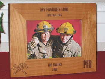 Firefighter Picture Frame - Personalized Gift Frame - Laser Engraved Fireman Hat