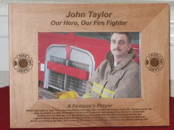Firemans Prayer Picture Frame - Personalized Frame - Laser Engraved Fireman's Prayer