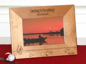 Fishing Theme Picture Frame - Personalized Frame - Laser Engraved Fishing Theme