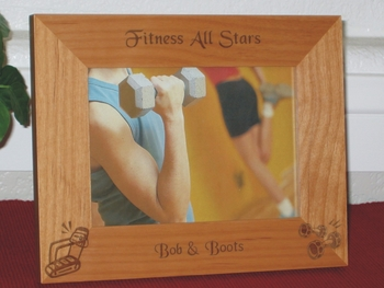 Fitness Picture Frame - Personalized Frame - Laser Engraved Tread Mill & Barbells
