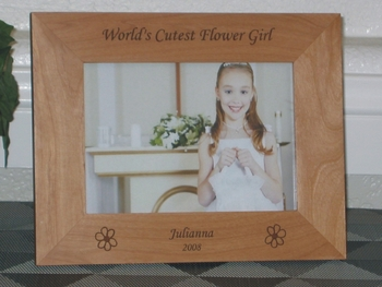 Flower Girl Picture Frame - Personalized Wedding Frame - Laser Engraved Flowers