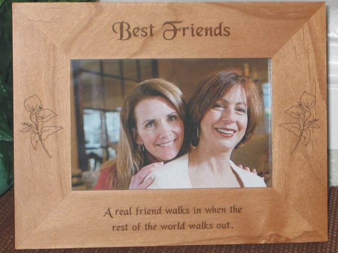 Friendship Picture Frame - Personalized Frame - Laser Engraved Lillies