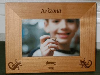 Gecko Picture Frame - Personalized Frame - Laser Engraved Geckos