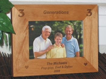 Generations Picture Frame - Personalized Frame - Laser Engraved 2 - 3 - 4 Generations