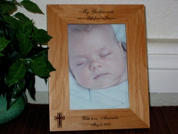Godparents Picture Frame - Personalized Frame - Laser Engraved Cross