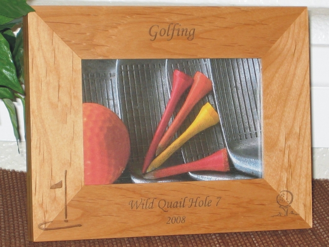 Golf Theme Picture Frame- Personalized Frame - Laser Engraved Golf Ball - Tee (2)