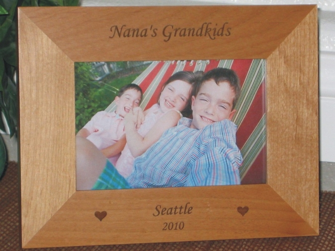 Grandchildren (Grandkids)  Picture Frame - Personalized Frame - Laser Engraved Hearts