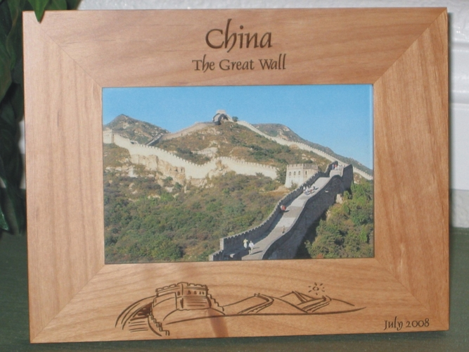 Great Wall of China Picture Frame - Personalized Souvenir Frame - Laser Engraved Great Wall of China