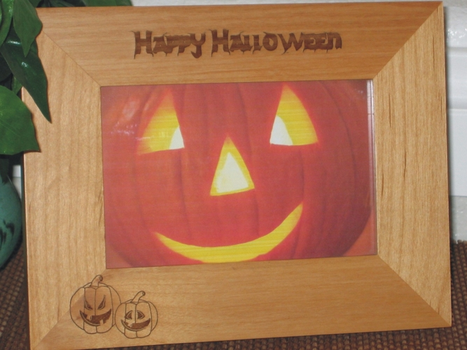 Halloween Picture Frame - Personalized Frame - Laser Engraved Pumpkins