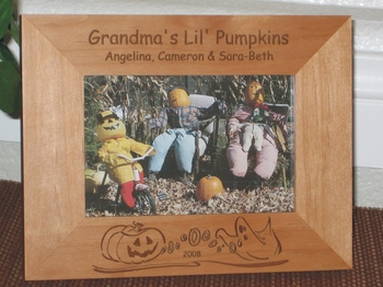 Halloween Theme Picture Frame - Personalized Frame - Laser Engraved Halloween Frame