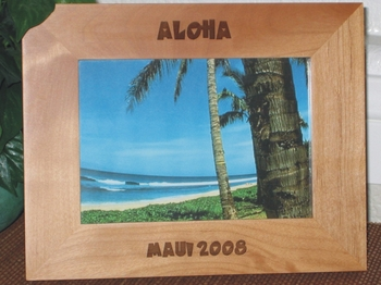 Hawaii Picture Frame - Personalized Souvenir Frame - Laser Engraved Hawaiian Font