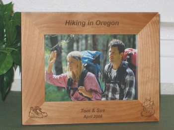 Hiking Picture Frame - Personalized Frame - Laser Engraved Backpack & Hiking Boots