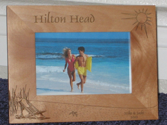 Hilton Head Picture Frame - Personalized Frame - Laser Engraved Beach Theme