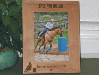 Horse Barrel Rider Picture Frame - Personalized Frame - Laser Engraved Horse & Female Barrel Rider