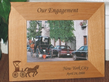 Horse Carriage Picture Frame - Personalized Frame - Laser Engraved Horse & Buggy