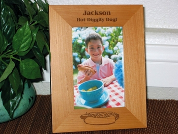 Hot Dog Picture Frame - Personalized Frame - Laser Engraved Hot Dog