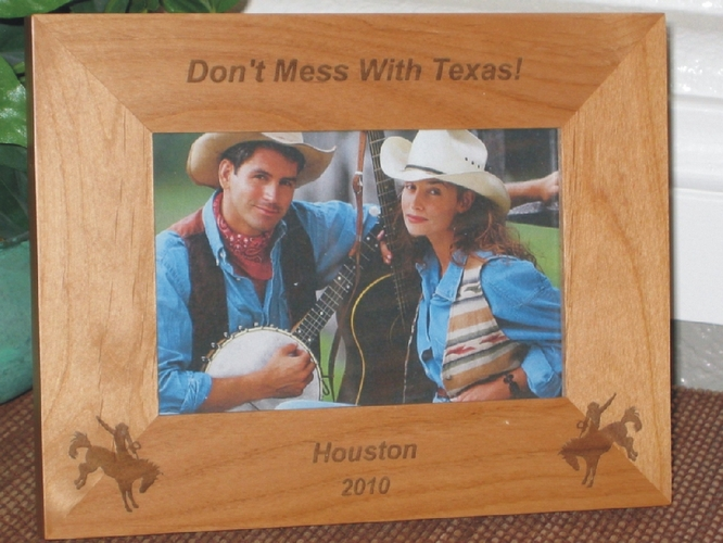 Houston Picture Frame - Personalized Frame - Laser Engraved Cowboys on Horses