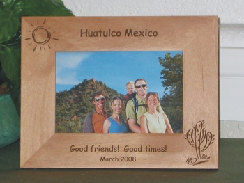 Huatulco Mexico Picture Frame - Personalized Frame - Laser Engraved Cactus and Sun
