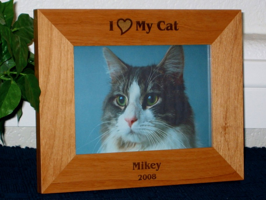 I Love My Cat Picture Frame Personalized Cat Frame Laser