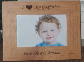 I Love My Godfather - Personalized Frame - Laser Engraved Heart
