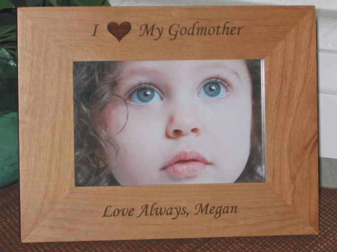 I Love My Godmother Picture Frame - Personalized Frame - Laser Engraved Heart