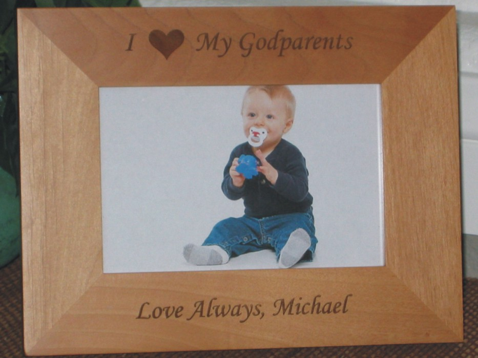 I Love My Godparents - Personalized Frame - Laser Engraved Heart