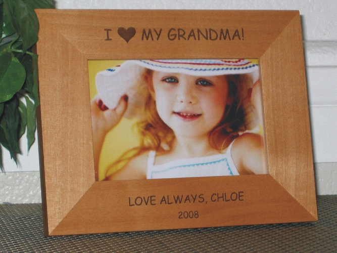 I Love My Grandma Picture Frame - Personalized Frame - Laser Engraved I Love My Grandma