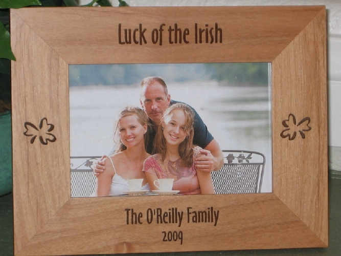 Irish Picture Frame - Personalized Frame - Laser Engraved Shamrocks