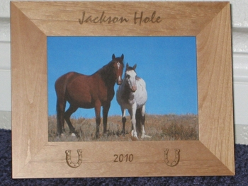 Jackson Hole Picture Frame - Personalized Frame - Laser Engraved Horseshoes