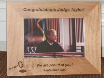 Judge Picture Frame - Personalized Frame - Laser Engraved Gavel