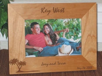 Key West Picture Frame - Personalized Frame - Laser Engraved Palm Tree