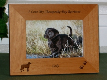 Lab Retriever Picture Frame - Personalized Dog Frame - Laser Engraved Lab & Pawprints