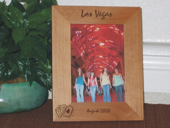 Las Vegas Picture Frame - Personalized Frame - Laser Engraved Royal Flush Cards