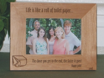 Life is Like a Roll of Toilet Paper Picture Frame - Personalized Frame - Laser Engraved Quote & Toilet Paper