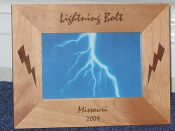Lightning Bolt Picture Frame - Personalized Frame - Laser Engraved Lightning Bolts