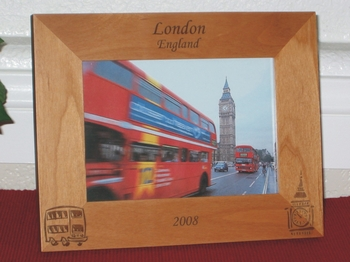 London England Picture Frame - Personalized Frame - Laser Engraved Double Decker Bus & Big Ben