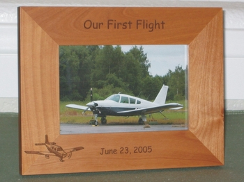 Low Wing Plane Picture Frame - Personalized Frame - Laser Engraved Low Wing Airplane