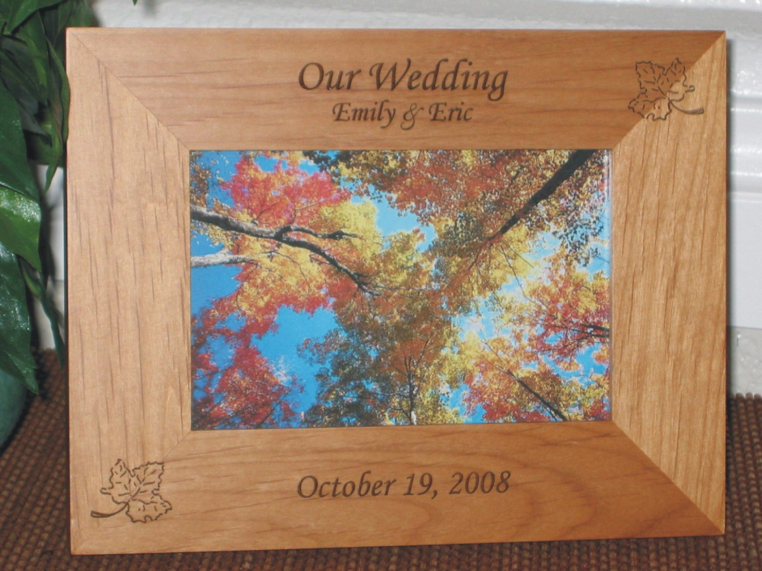 Maple Leaf Picture Frame - Personalized Frame - Laser Engraved Maple ...