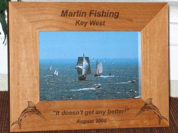 Marlin Picture Frame - Personalized Frame - Laser Engraved Marlin Fish