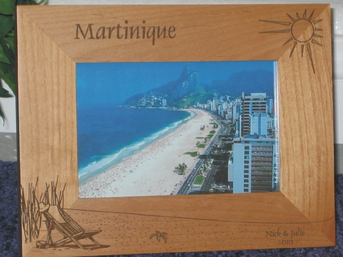 Martinique Picture Frame - Personalized Frame - Laser Engraved Beach Theme