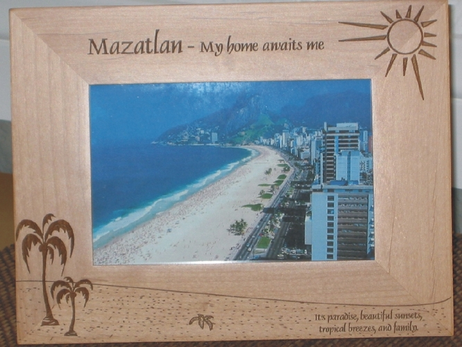 Mazatlan Picture Frame - Personalized Frame - Laser Engraved Beach with Palms