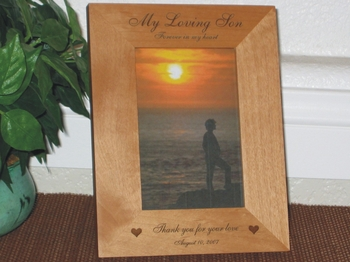 Memorial Picture Frame - Personalized Frame - Laser Engraved Cross