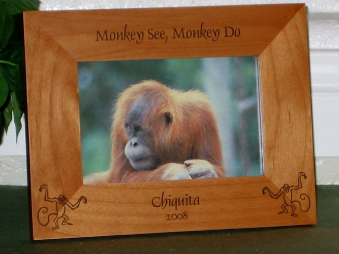 Monkey Picture Frame - Personalized Frame - Laser Engraved Monkies
