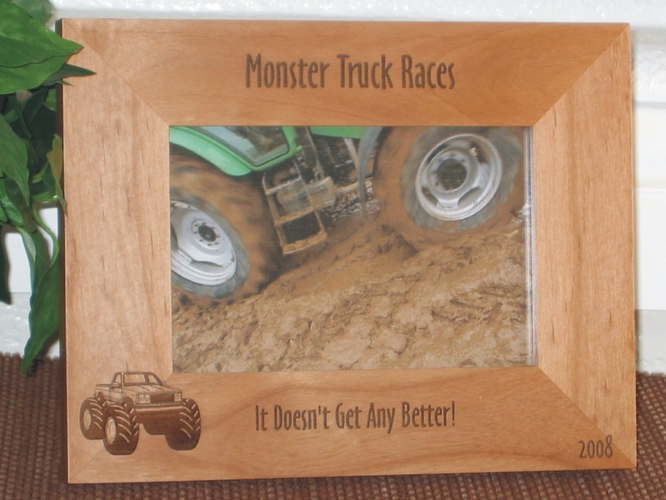 Monster Truck Picture Frame - Personalized Frame - Laser Engraved Monster Truck